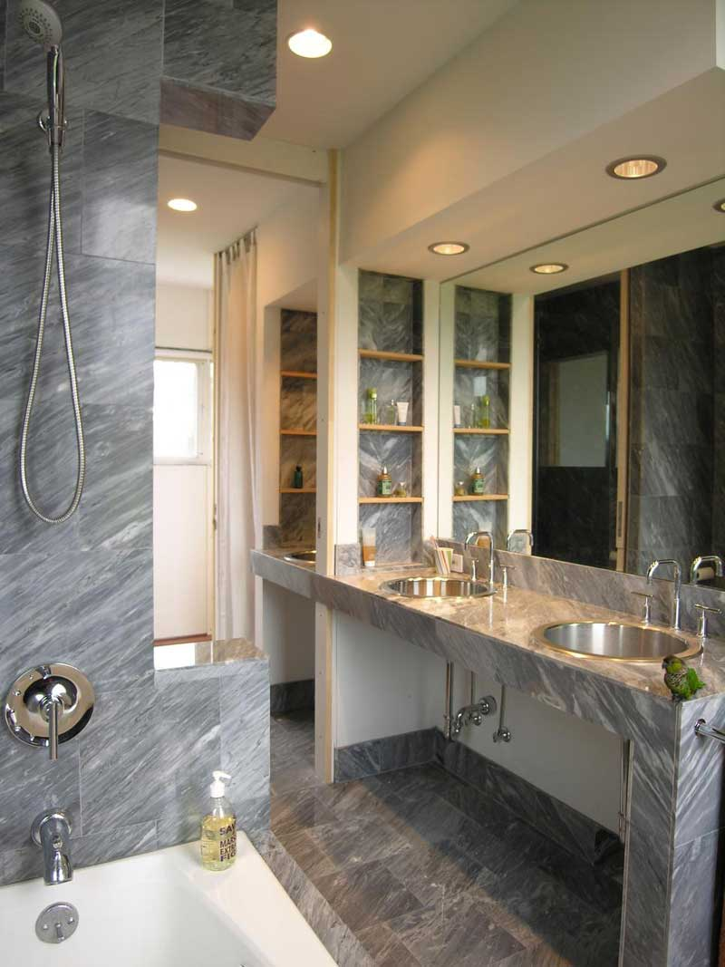 Bathroom with Gray Stone Tile