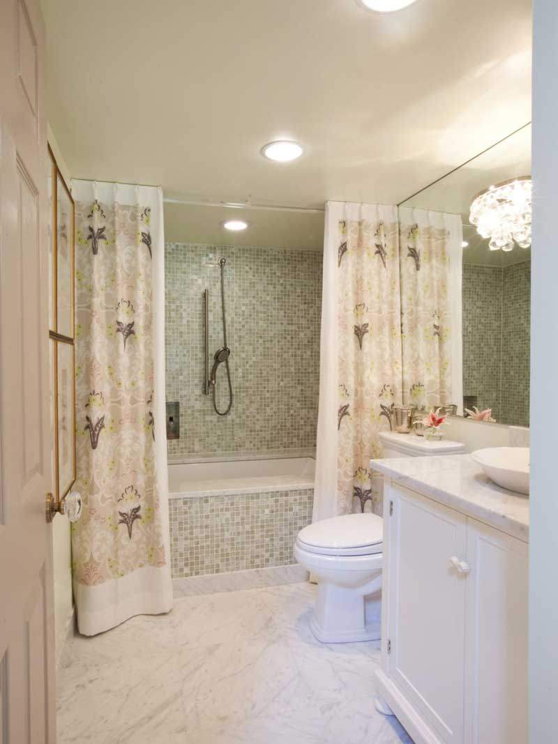 Bathroom with Lavender Print Shower Curtain