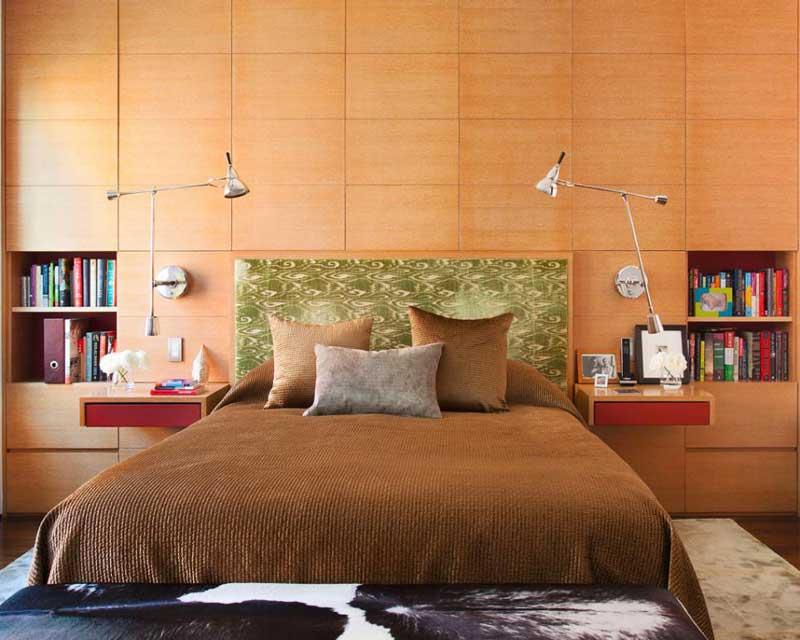 Brown Contemporary Bedroom with Wood Paneling