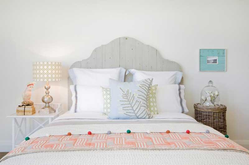 Coastal Bedroom with Gray Wood Plank Headboard