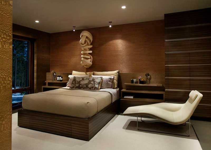 Contemporary Bedroom in Warm Brown Tones