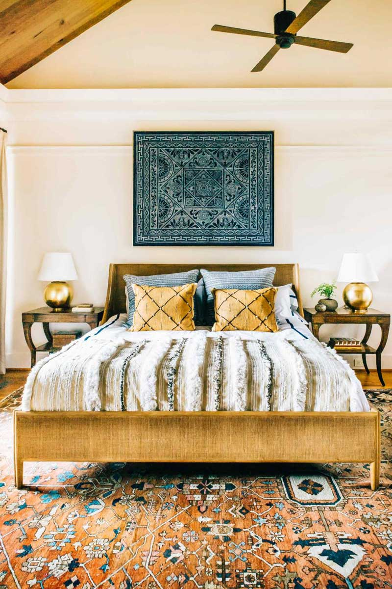Eclectic Bedroom With Blue Art