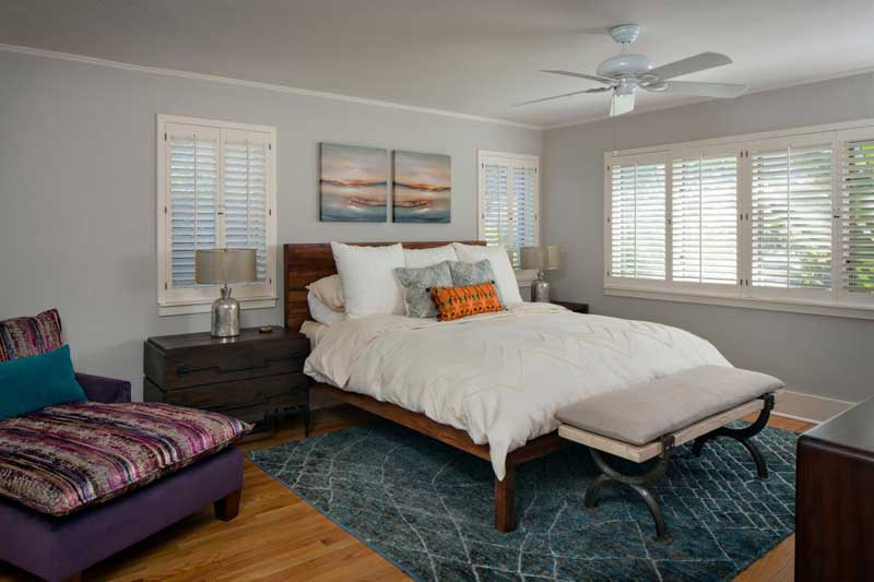 Gray Transitional Bedroom with Blue Rug