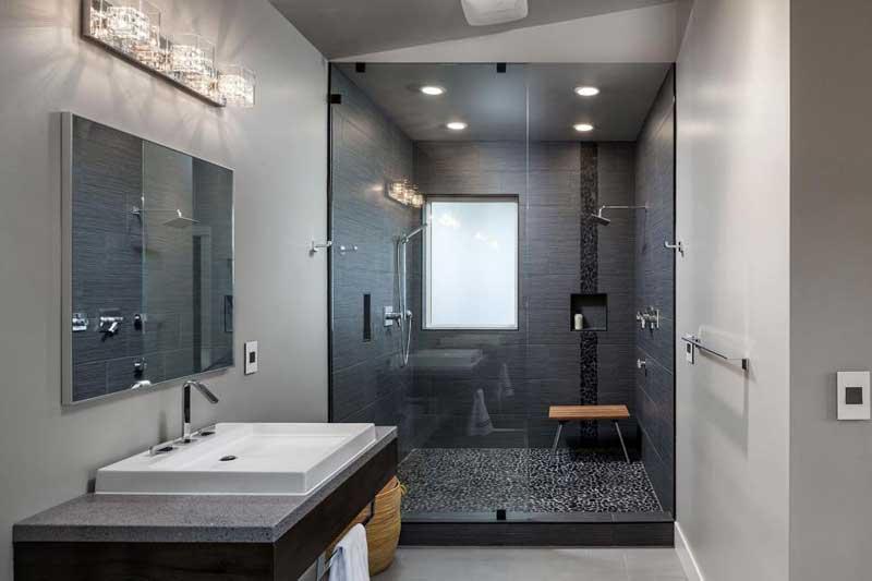 Modern Bathroom with Black Shower