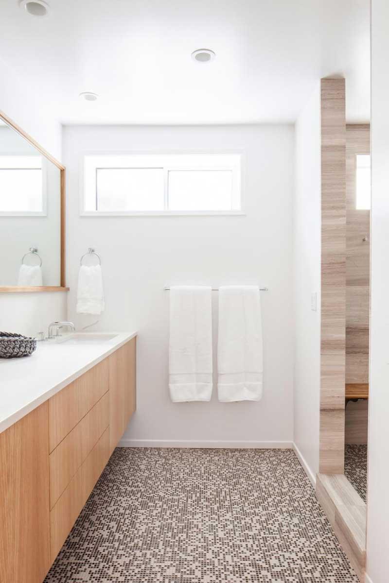Modern Bathroom with Brown Mosaic Tile Floors