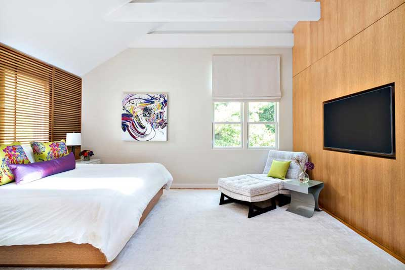 Modern Bedroom with Inset TV