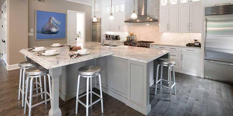 Plain and fancy transtional kitchen design