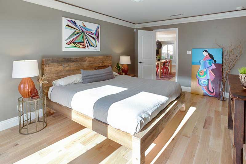 Rustic Bedroom with Wood Frame Bed