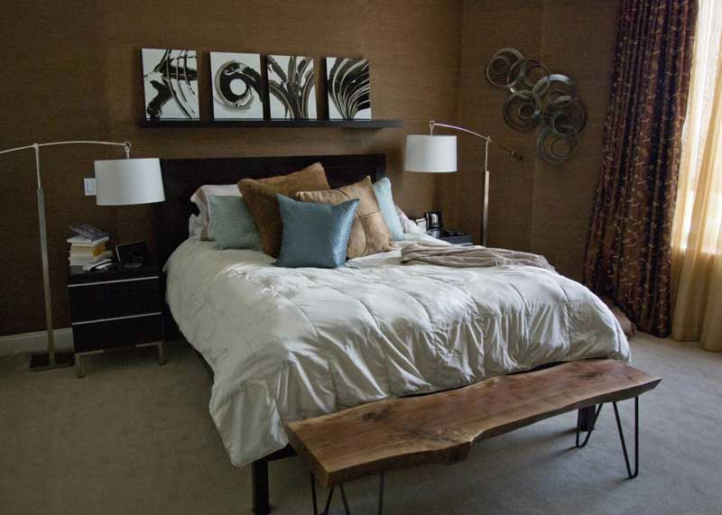 Transitional Brown Bedroom with Rustic Bench