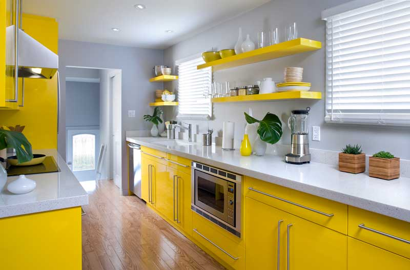 Yellow Gloss Kitchen Design