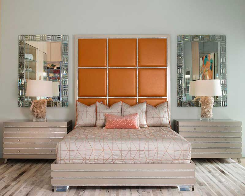 Bedroom With Bold Orange Headboard