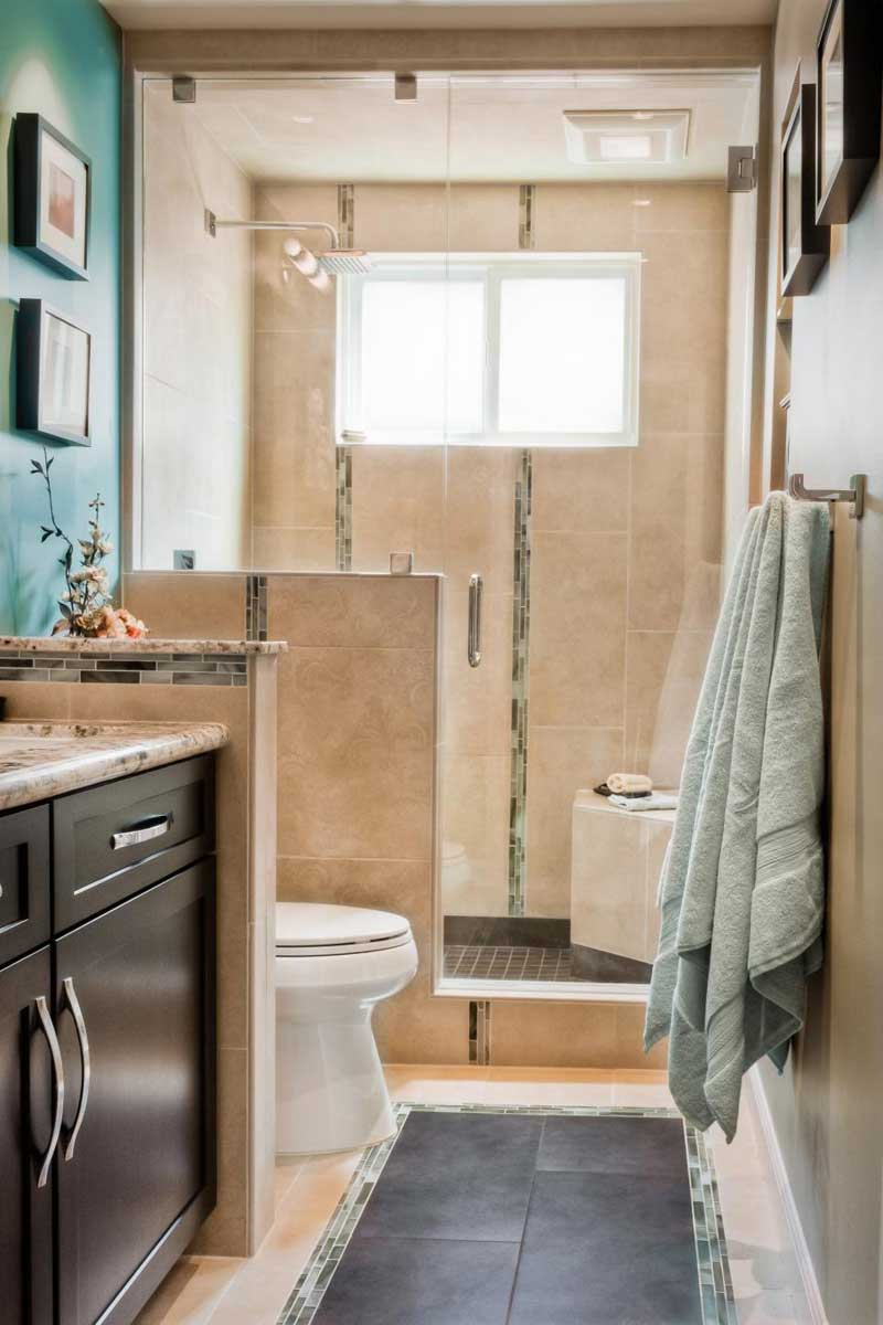 Beige Tile Walk-In Shower