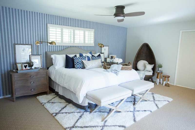 Blue Bedroom With Striped Wallpaper