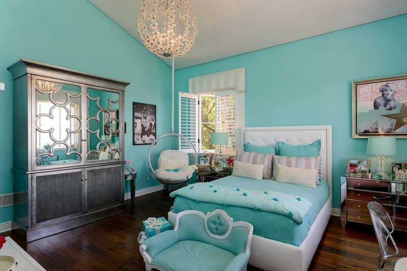 Blue Teenage Girl Bedroom with Dark Wood Floor