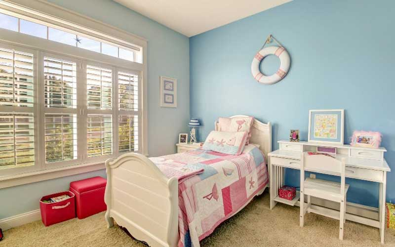 Teenage Girl Bedroom with White Furniture