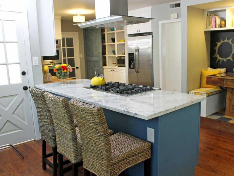 Blue Kitchen Island With Marble Top