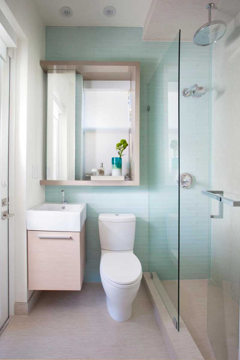 Bathroom with Blue Subway Tile Wall