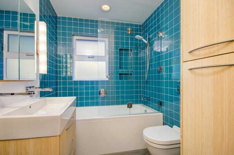 Bathroom with Bright Teal Tile