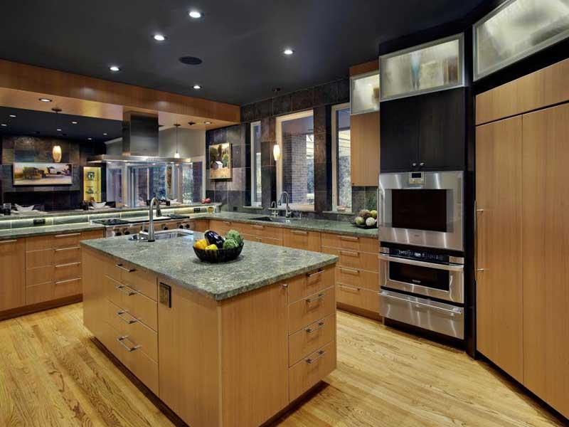 Brown Contemporary Kitchen Island