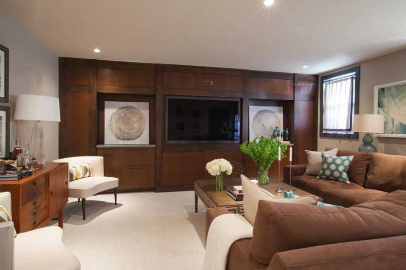 Brown and White Living Room With Sectional