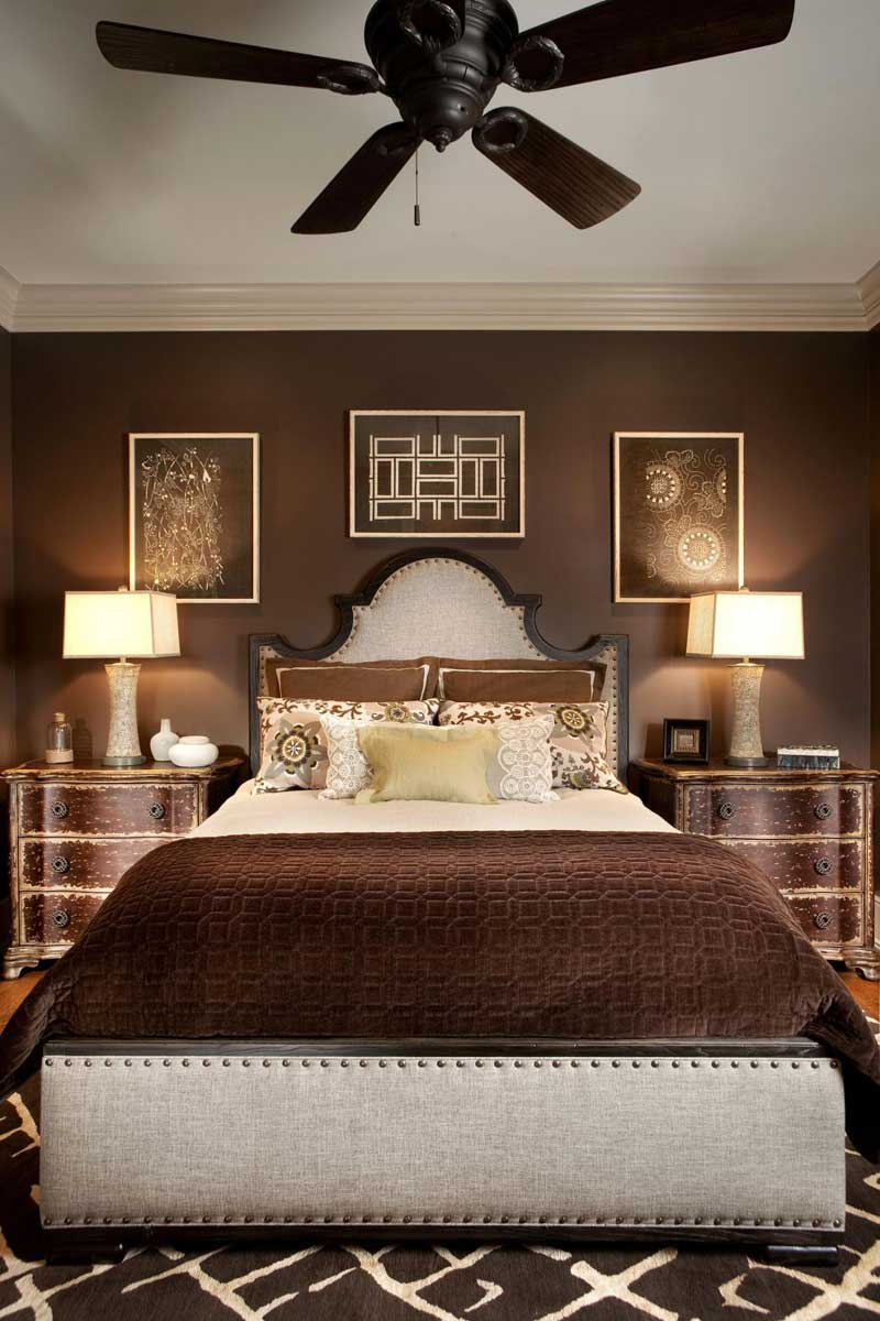 Chocolate Brown Bedroom With Artwork