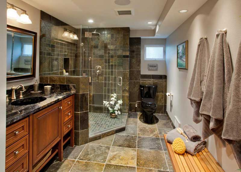 Bathroom with Dark Tile Shower