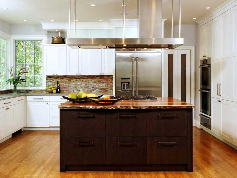 Dark Wood Kitchen Island
