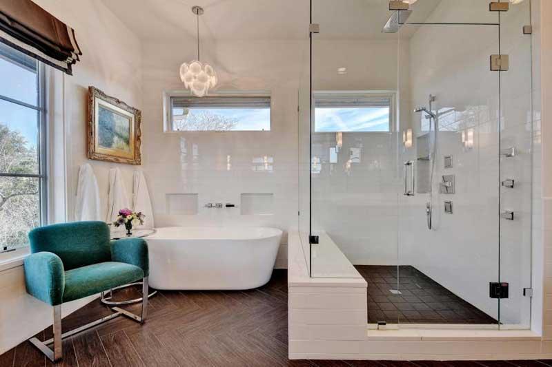 Bathroom with Faux Bois Tile