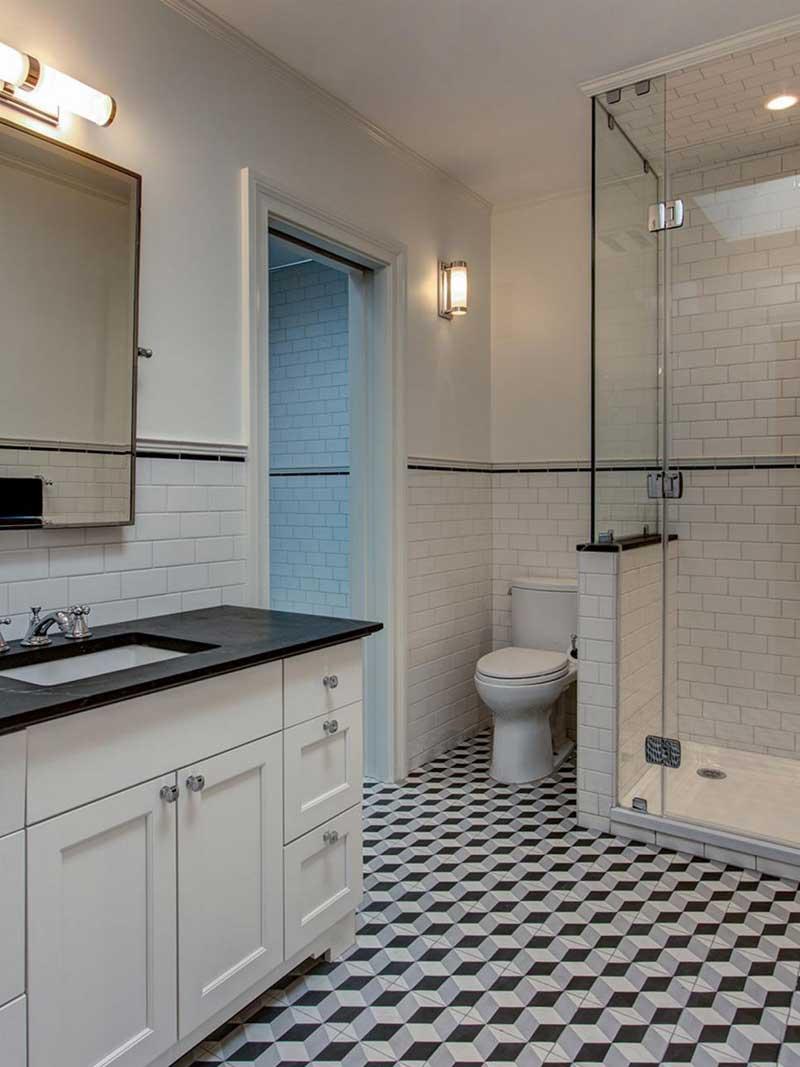 Bathroom with Geometric Tile Floor