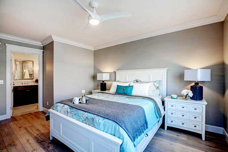 Gray Bedroom With Blue Bedding
