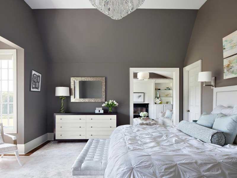 Gray Bedroom With White Bedding