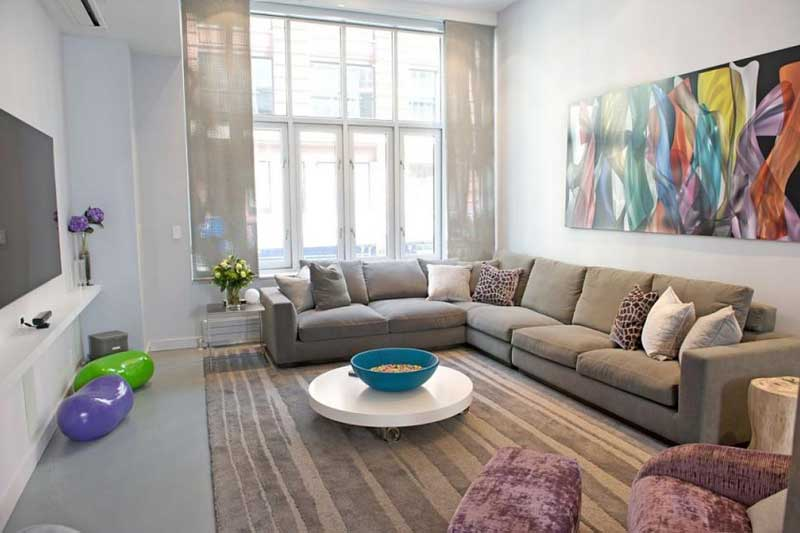 Gray Living Room With Multicolored Art
