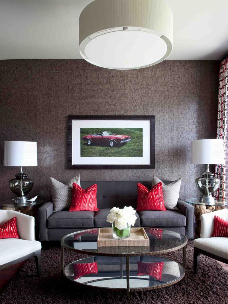 Gray Living Room With Red Accents