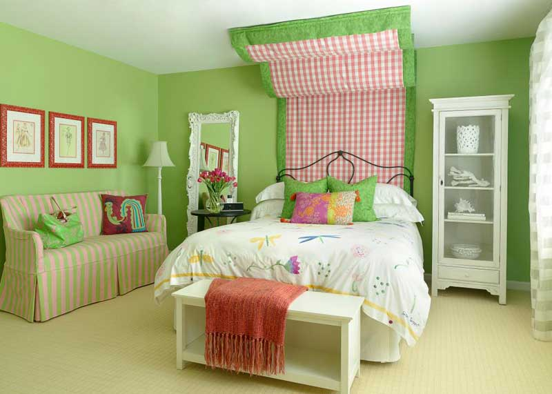 Green Teenage Girl Bedroom With Fabric Headboard