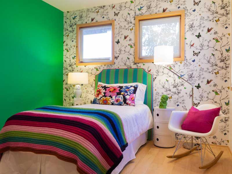 Green Teenage Girl Bedroom With Nature Wallpaper