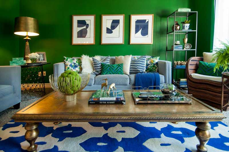 Green Living Room With Royal Blue Accents