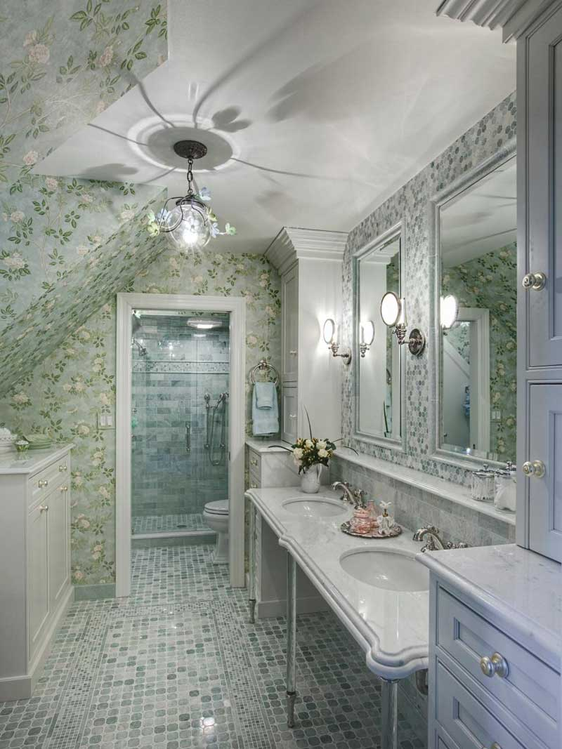 Bathroom with Green and White Mosaic Tile Floor
