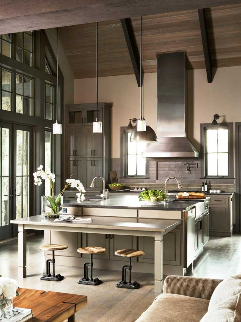 Kitchen Island with Double Sink