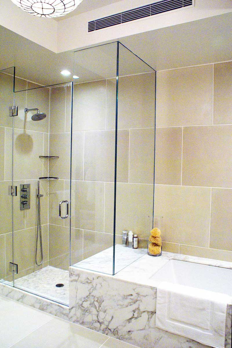 Bathroom with Limestone Tile Wall