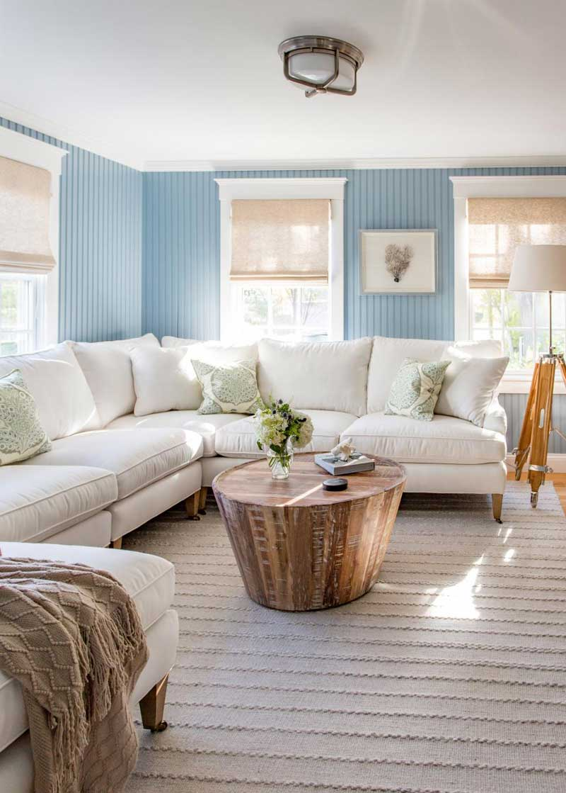 Living Room With Cornflower Blue Walls