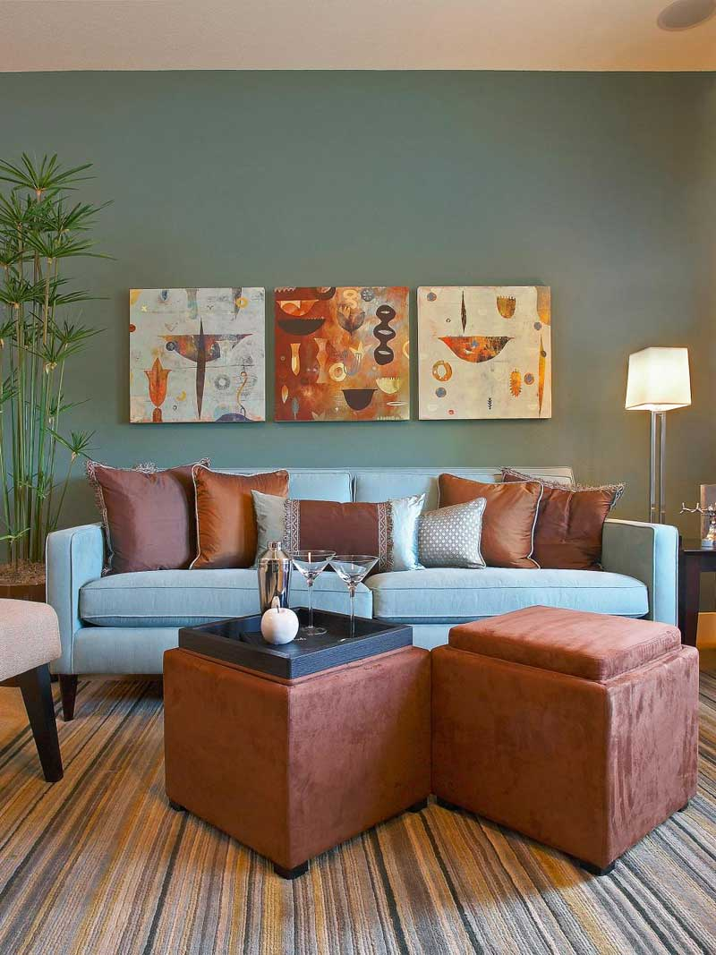 Living Room with Blue and Brown Color Scheme