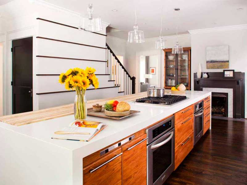 Long Kitchen Island With Double Ovens