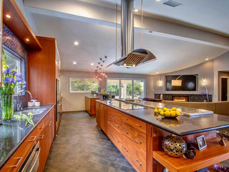 Long Wood Kitchen Island