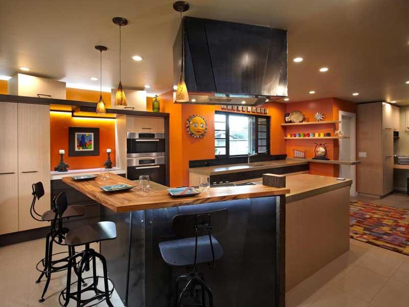 Metal and Wood Kitchen Island