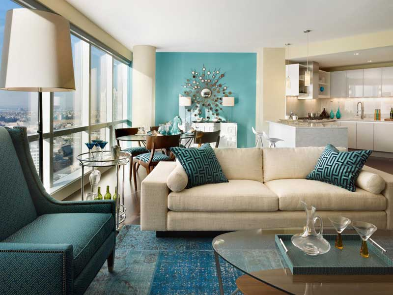 Modern Living Room With Aqua Decor