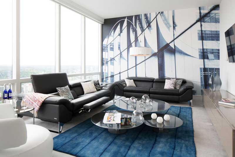 Modern Living Room With Blue Rug