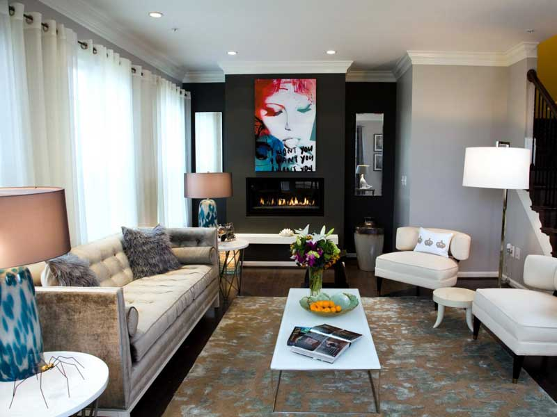 Modern Living Room in Shades of Gray with Artwork