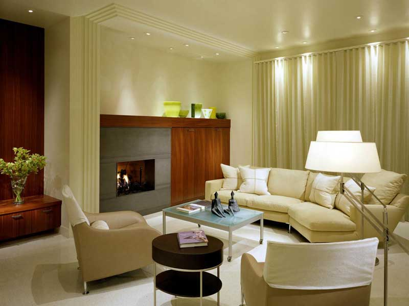 Modern Living Room with Cream Accents
