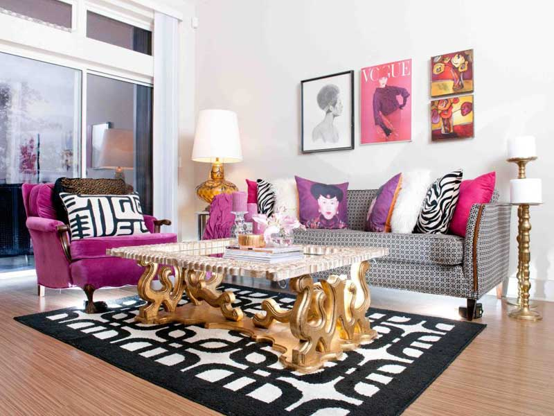 Modern Living Room with Pink and Black Accents
