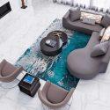 Modern Living Room with Vibrant Aqua Rug